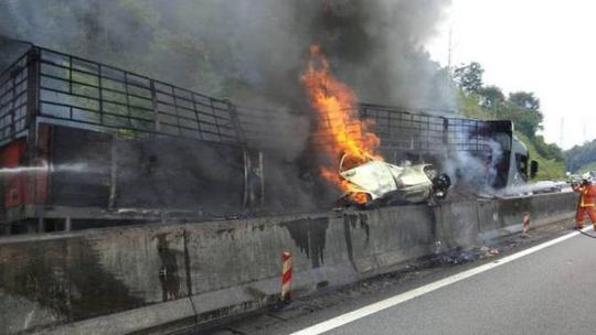 Bị xe tải chèn vào dải phân cách, 5 người trong gia đình chết cháy Ảnh 1