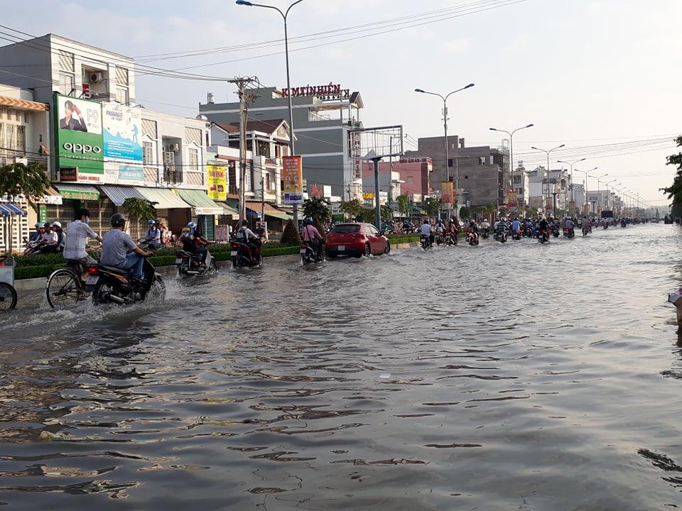 Triều cường dâng cao, dân Cần Thơ bơi thuyền giữa phố Ảnh 1