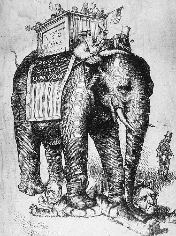 Vì sao biểu tượng của đảng Dân chủ là con lừa còn đảng Cộng hòa là con voi? Ảnh 2