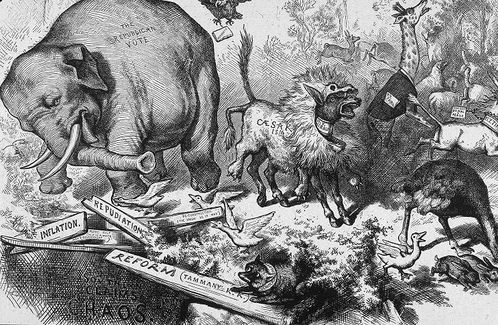 Vì sao biểu tượng của đảng Dân chủ là con lừa còn đảng Cộng hòa là con voi? Ảnh 3