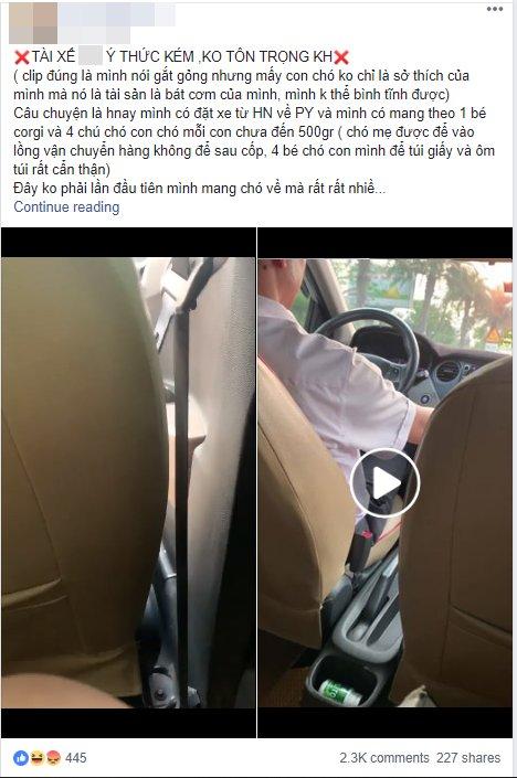 Tài xế taxi và khách nữ tranh cãi gay gắt vì... một chú chó Ảnh 1