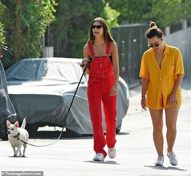 'Chân dài' Emily Ratajkowski diện quần yếm đỏ dắt thú cưng đi dạo phố Ảnh 3