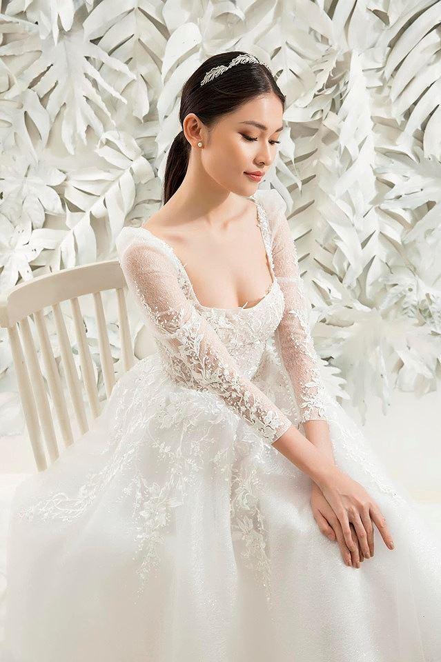 Sau khi công khai bạn trai, Á hậu Thùy Dung gợi cảm với váy cưới xuyên thấu Ảnh 3