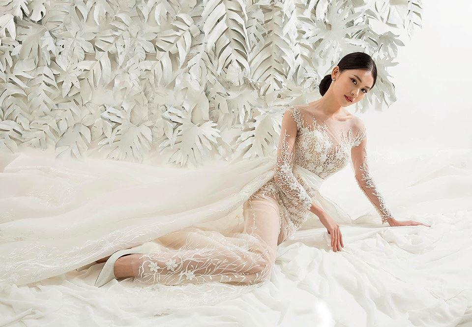 Sau khi công khai bạn trai, Á hậu Thùy Dung gợi cảm với váy cưới xuyên thấu Ảnh 5