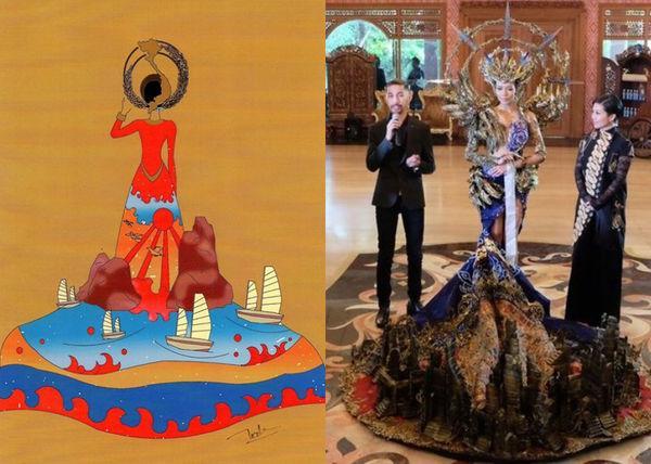 Vừa lên sóng, trang phục dân tộc dành cho Hoàng Thùy bị fan Việt và Indonesia tố đạo nhái ý tưởng Ảnh 6