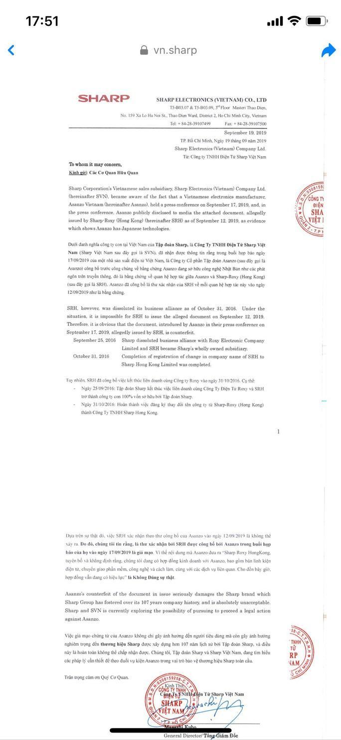 Sharp Việt Nam tố Asanzo giả mạo bằng chứng hợp tác Ảnh 1