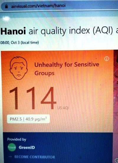 Sáng nay, Hà Nội bớt ô nhiễm, bụi mịn PM 2.5 giảm Ảnh 1