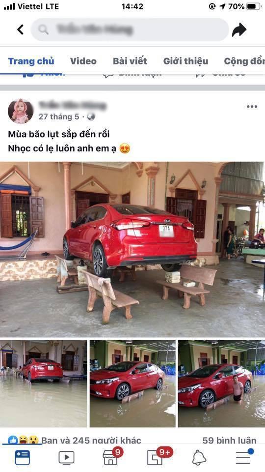 Chủ xe ở Nghệ An chống ngập cho ôtô nhờ ghế đá và gạch Ảnh 5