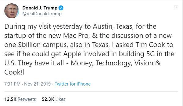 Tổng thống Trump đề nghị Apple tham gia xây dựng mạng 5G ở Mỹ Ảnh 1