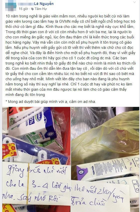 Lời nhắn gửi cộc lốc của phụ huynh với cô giáo mầm non gây tranh cãi trên MXH Ảnh 1