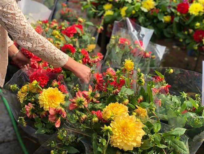 Nhộn nhịp chợ hoa Quảng An ngày cuối năm trong mưa lạnh Ảnh 7