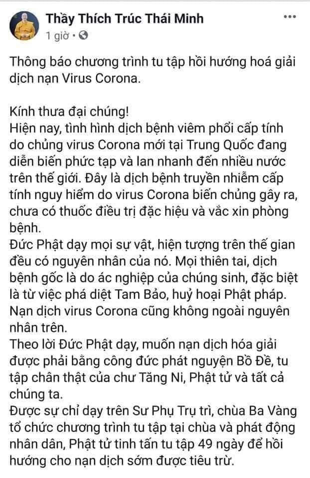 Bất ngờ xuất hiện thông báo chương trình tu tập hồi hướng hóa giải dịch cúm virus Corona của sư thầy Thích Trúc Thái Minh Ảnh 1