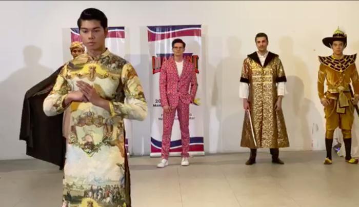 Phạm Đình Lĩnh diện National Costume áo dài độc đáo, được dự đoán đăng quang Manhunt International 2020 Ảnh 5