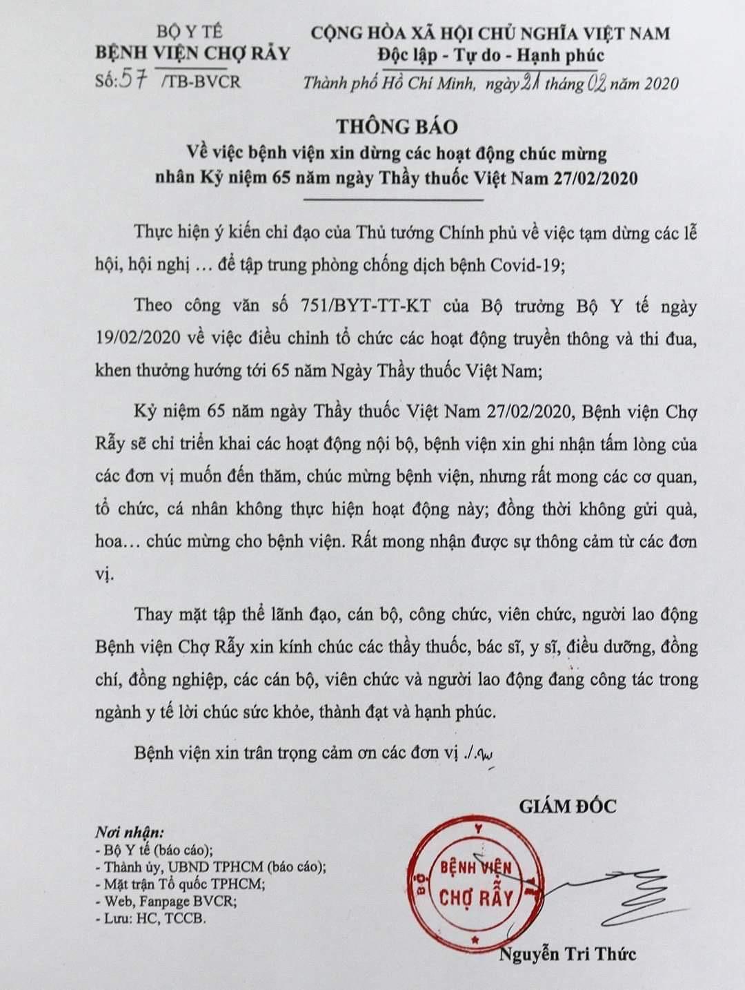 Bệnh viện xin dừng hoạt động mừng ngày Thầy thuốc để phòng dịch Ảnh 2