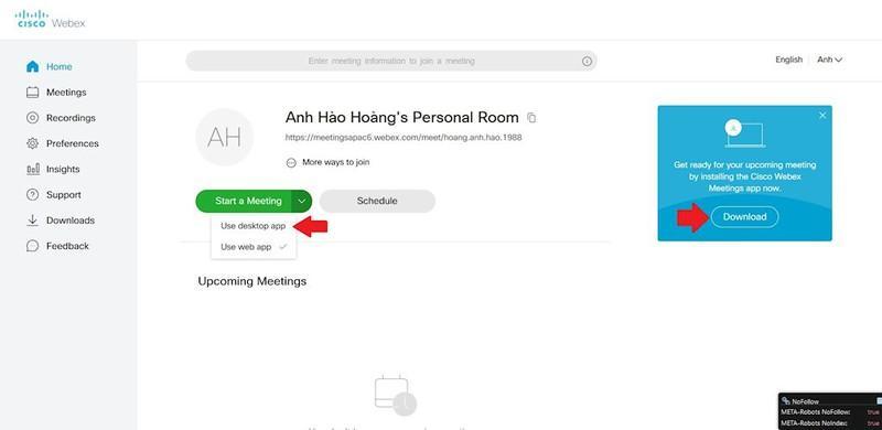 Hướng dẫn họp trực tuyến bằng Webex bản cài trên máy tính và điện thoại Ảnh 1