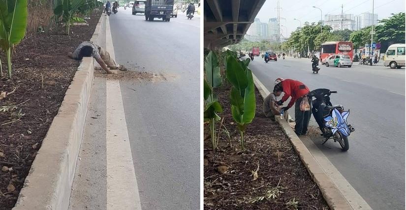 Tài xế xe ôm chăm sóc cho người đàn ông đói lả nằm bên đường gây xúc động Ảnh 1