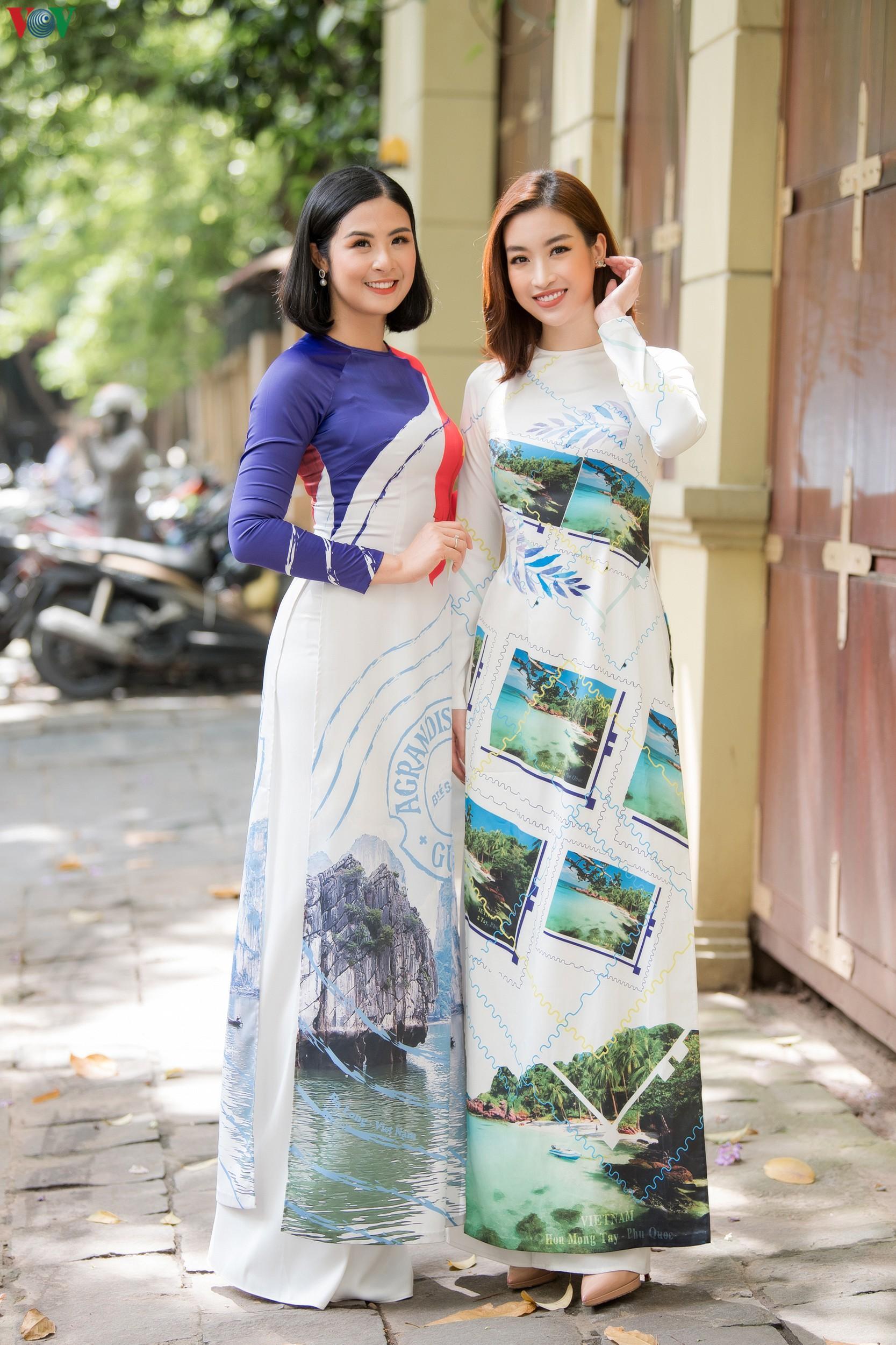 Hoa hậu Ngọc Hân, Đỗ Mỹ Linh đọ dáng với áo dài in hình biển đảo Ảnh 3