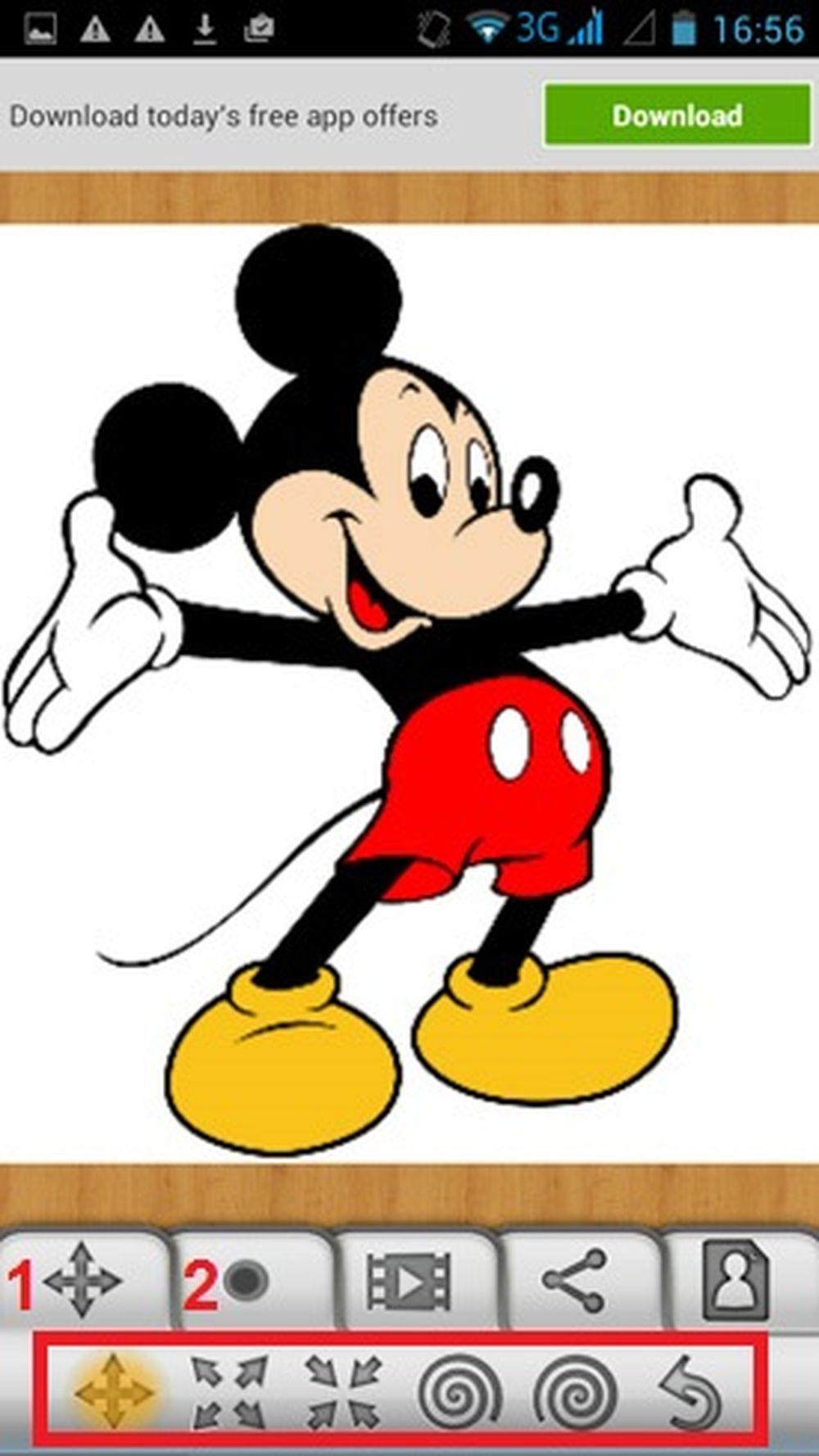 Vẽ tranh biếm họa vui nhộn trên Android: Sau khi đã tải ảnh lên (trong hình  ta sẽ dùng ảnh Chuột Mickey), hãy dùng các công cụ trong mục 1 và 2 ...