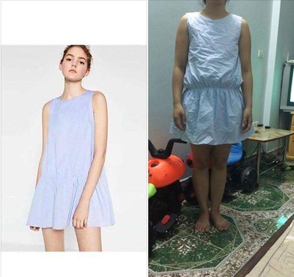 Hình ảnh chiếc váy được quảng cáo trên mạng và chiếc váy người mua hàng nhận về (phải).