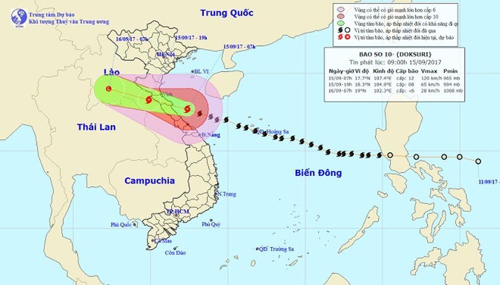 Bản tin thời tiết 9h30: Bão số 10 bắt đầu 'oanh tạc' vùng biển Hà  Tĩnh-Quảng Trị