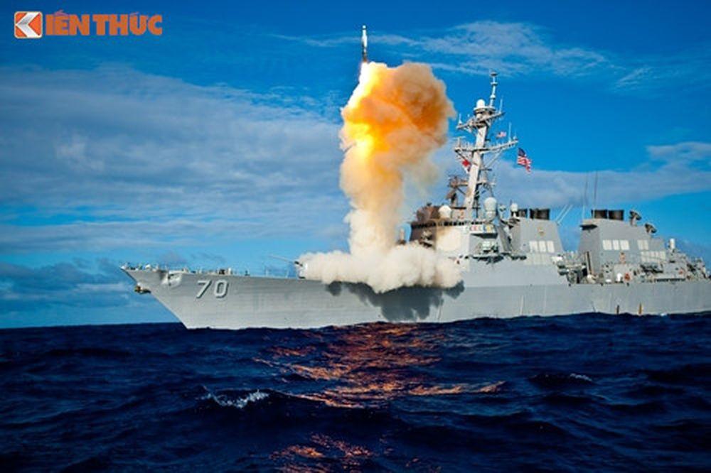 Hệ thống Aegis phóng tên lửa đánh chặn. Ảnh: Wikipedia.org