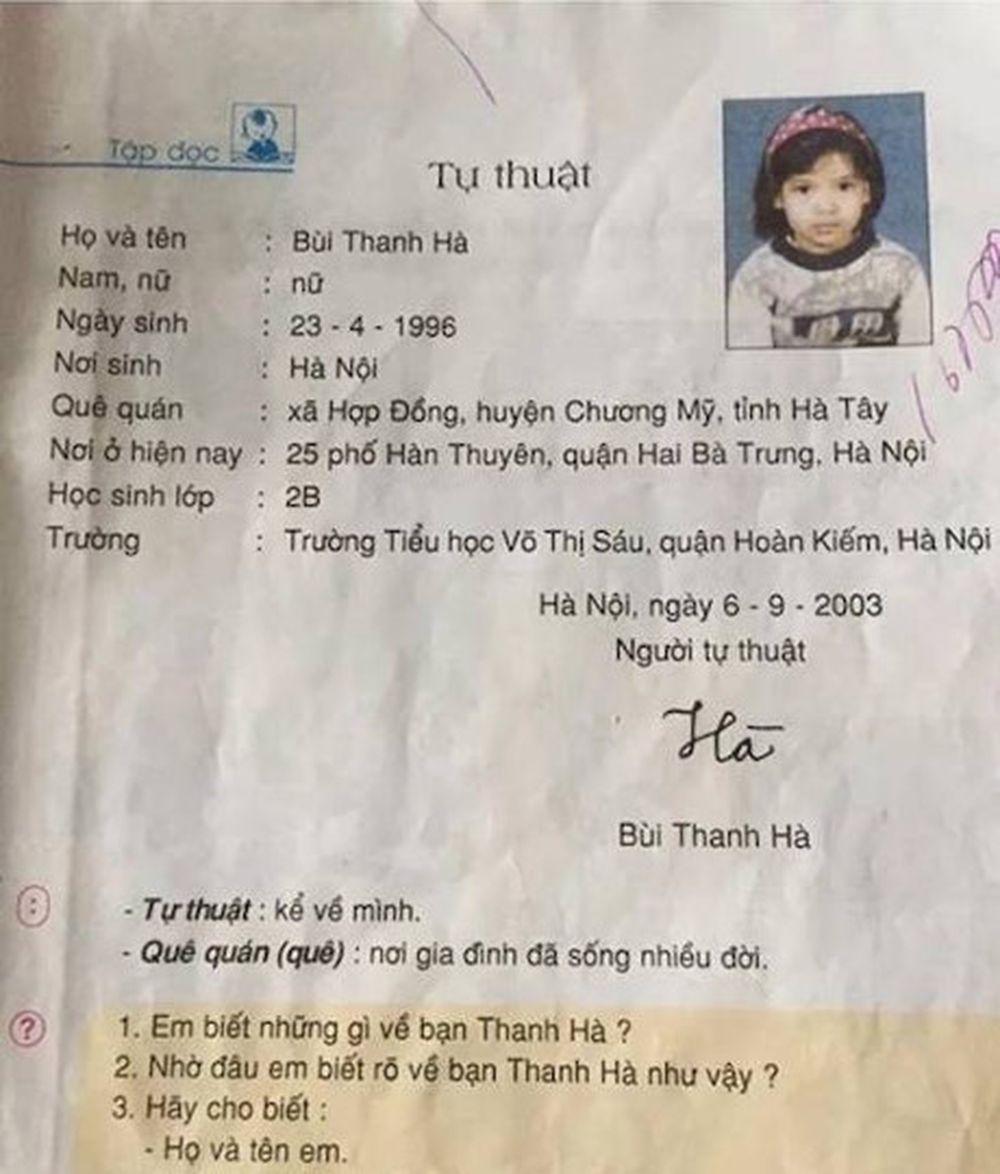 Như sách giáo khoa đăng tải, cô bé có tên Bùi Thanh Hà, sinh năm 1996, học tại trường tiểu học Võ Thị Sáu, quận Hoàn Kiếm, Hà Nội.