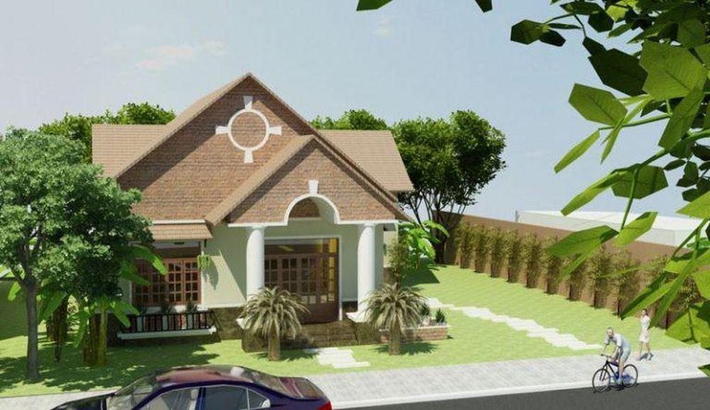 Mẫu biệt thự nhà vườn ở nông thôn mái thái diện tích 120m2 và 2 phòng ngủ