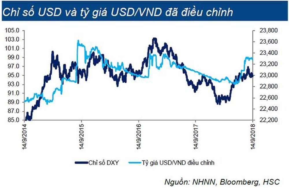 Điều này được thể hiện rõ ở biến động đồng nhất của chỉ số DXY và tỷ giá USD /VND điều chỉnh.