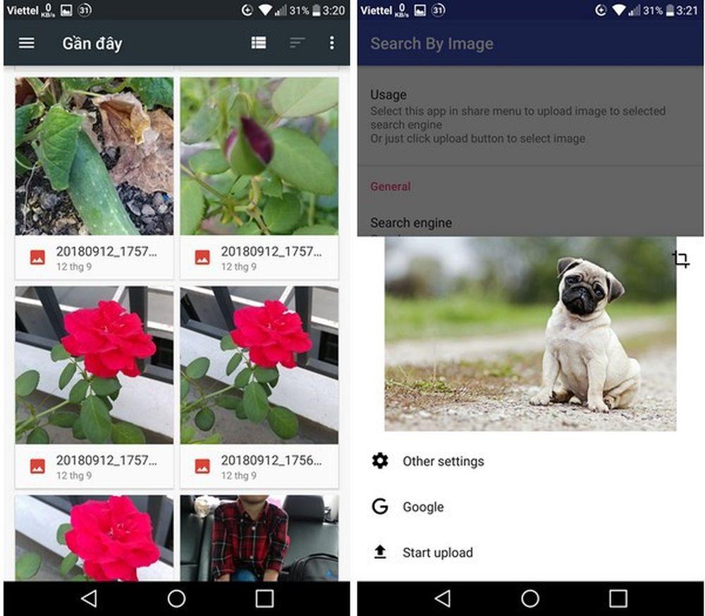 Ứng dụng sẽ tự động upload hình ảnh được chọn và sử dụng chức năng tìm kiếm bằng hình ảnh của Google. Sau khi quá trình tìm kiếm kết thúc, ...