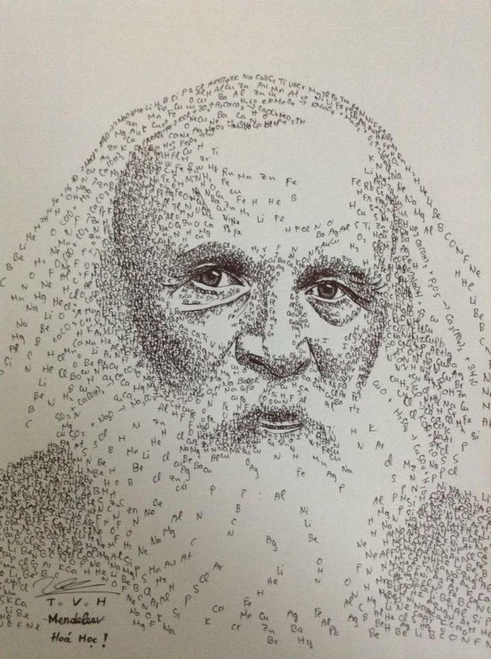 Bức ảnh chân dung nhà khoa học Mendeleev được vẽ bằng các nguyên tố Hóa học