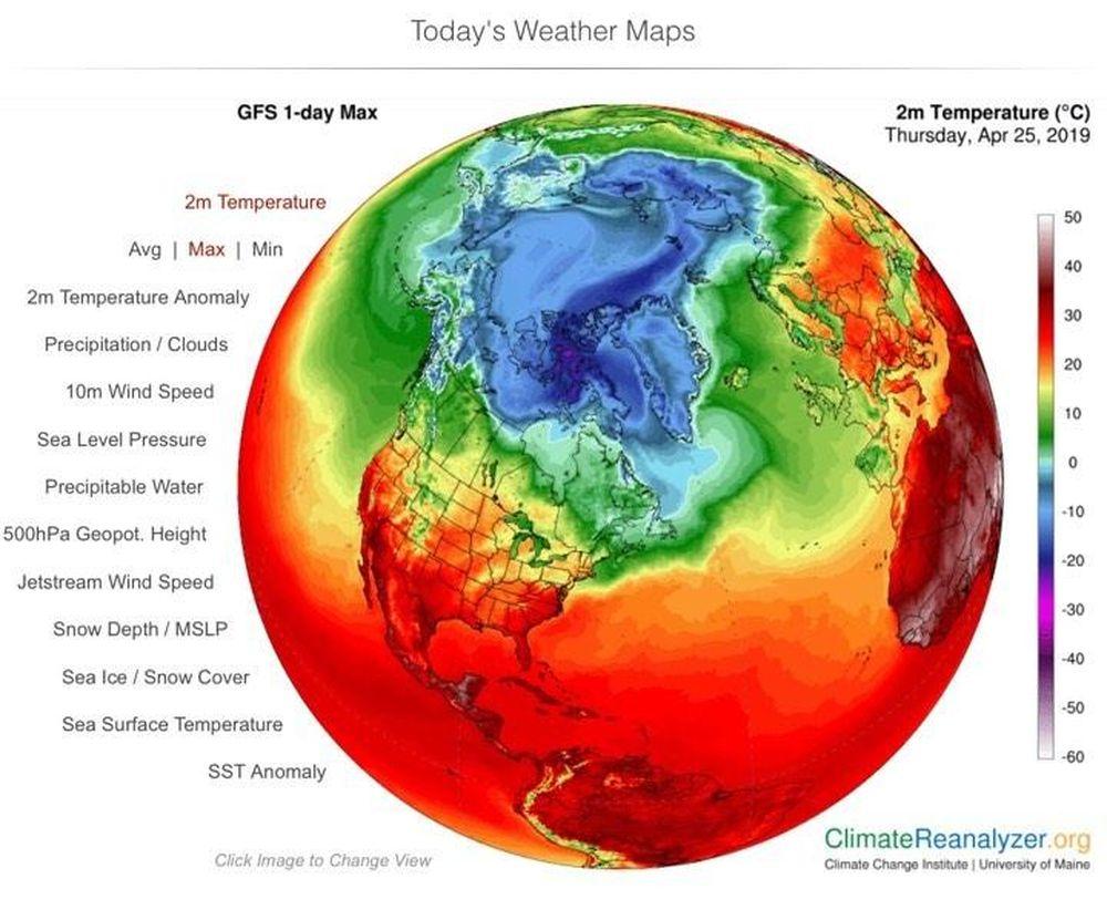 Trái Đất đang nóng lên. Ảnh: climatereanalyzer.org.