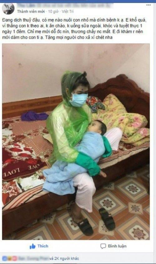 Hình ảnh người mẹ cho con bú khi mắc thủy đậu được chia sẻ trên mạng xã hội, nhận được hàng ngàn lượt thích và bình luận.