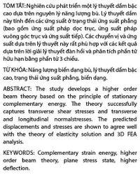 Phát triển lý thuyết dầm bậc cao dựa trên năng lượng biến dạng bù