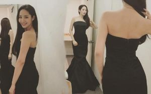 Thư ký Kim thả thính fans, mặc váy đen khoe trọn xương vai gợi cảm khiến bao người ngây ngất