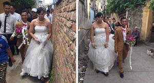 Bức ảnh chú rể 'tí hon', cô dâu 'khổng lồ' và biểu cảm khác thường khiến cư dân mạng xôn xao