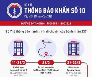 Bộ Y tế thông báo khẩn về hành trình của bệnh nhân số 237