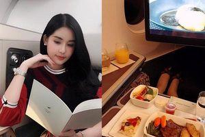 Lê Âu Ngân Anh ngồi máy bay hạng sang, ăn uống như vua chúa trên đường đi Mỹ diễn thời trang tại Oscar