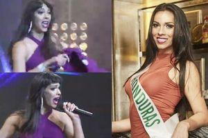 Micro vướng vào áo, thí sinh Hoa hậu Chuyển giới Quốc tế lộ hát nhép ngay trên sân khấu