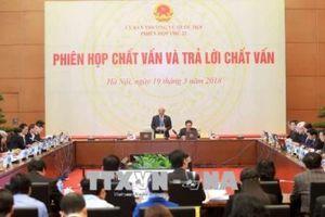 Phiên họp thứ 22 Ủy ban Thường vụ Quốc hội khóa XIV: Chất vấn Bộ trưởng Bộ Tư pháp Lê Thành Long