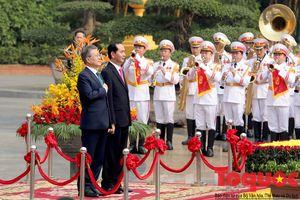 Chủ tịch nước Trần Đại Quang chủ trì lễ đón chính thức Tổng thống Hàn Quốc