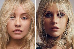 Christina Aguilera khác lạ với gương mặt mộc không son phấn