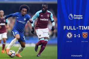 Morata 2 lần bị từ chối bàn thắng, Chelsea rơi điểm trước West Ham