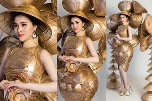 Đại diện Việt nói tiếng Anh dở tệ đeo hơn 10 nón lá tham gia phần thi trang phục