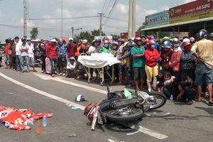 Xe tải va chạm xe máy, bé gái 3 tuổi tử vong tại chỗ