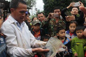 Người dân dùng chài bắt 'cá thần' ở Nghệ An