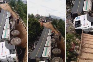 Cầu tải trọng dưới 5 tấn đổ sập khi xe tải 18 tấn chạy qua