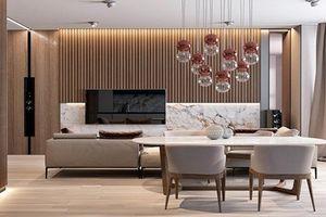 Căn hộ có nội thất kết hợp giữa đá cẩm thạch và gỗ