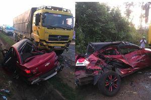 Xe con húc xe tải trên quốc lộ, 4 người thương vong