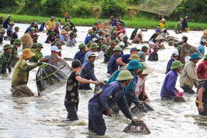 Người dân đổ về đánh bắt cá cầu may