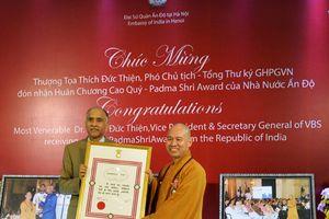 Hà Nội: Thượng tọa Thích Đức Thiện nhận huân chương Padma Shri Award của nhà nước Ấn Độ